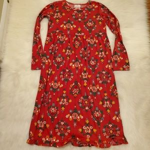 Hanna Andersson Red Floral Long Sleeve Nightgown
